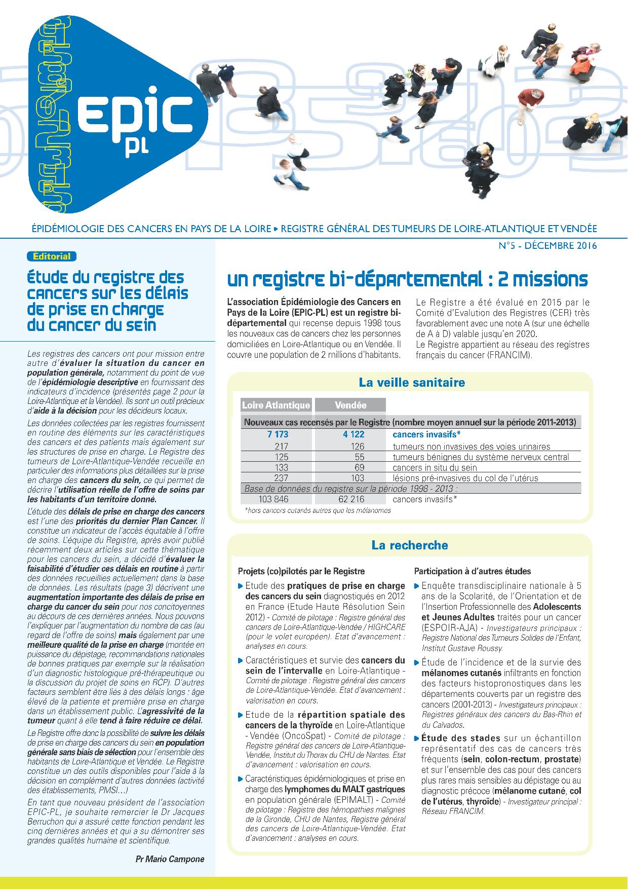Registre des cancers Bulletin d'information n°5, Décembre 2016